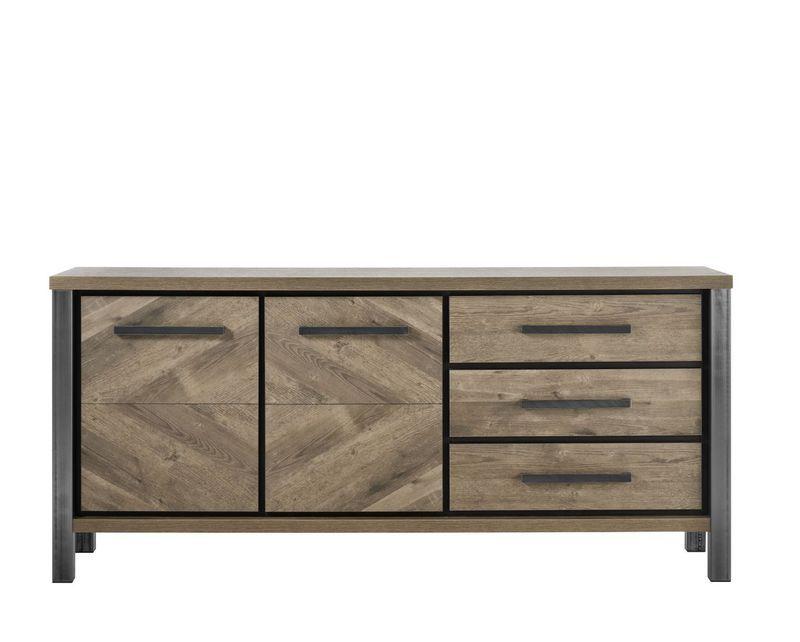 Dressoir Oltia houtstructuur/metaal