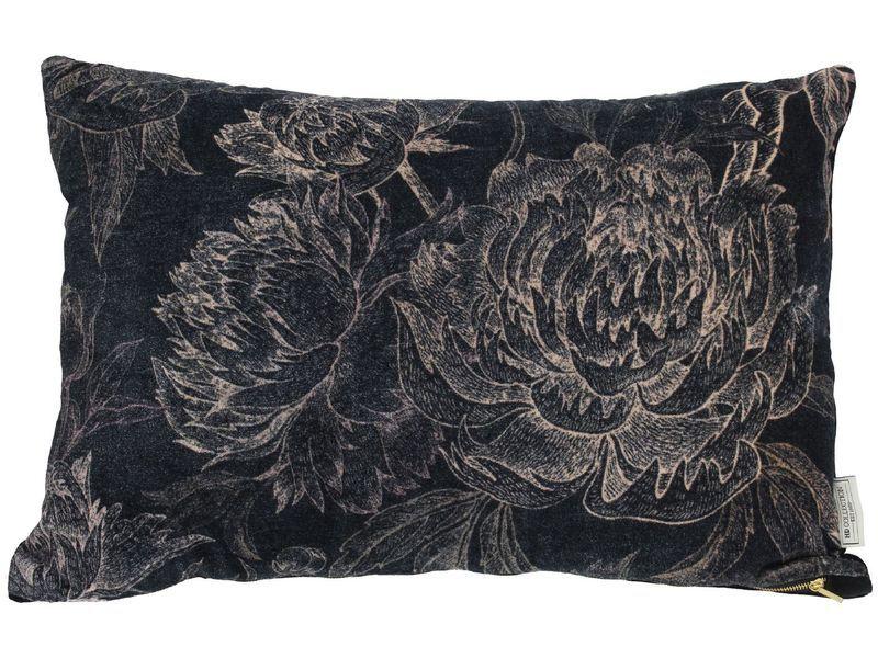 Sierkussen bloemen zwart
