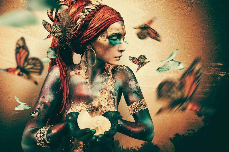 Wanddecoratie Women butterflies
