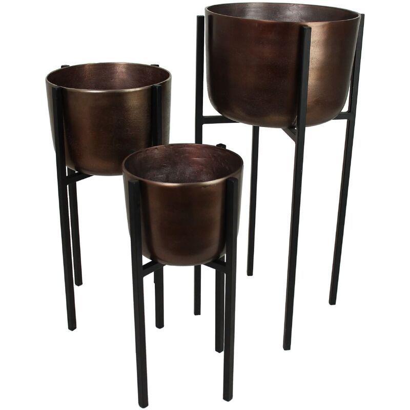 Planter aluminium brown S/3