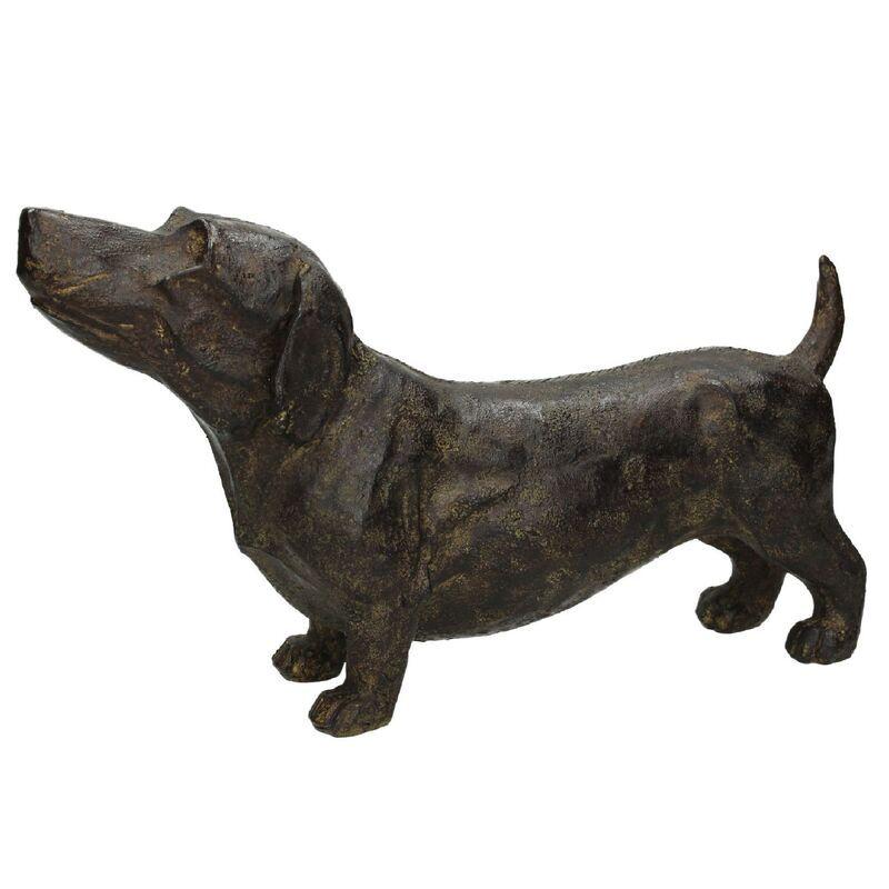 Ornament dog polyresin brown