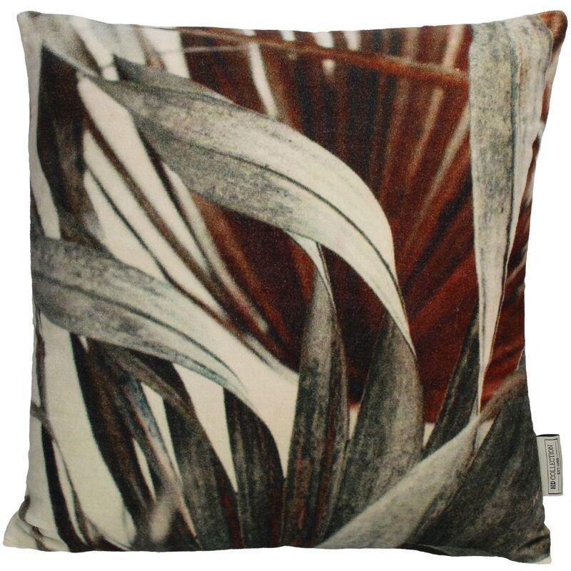 Cushion leaves velvet grey 45x45cm