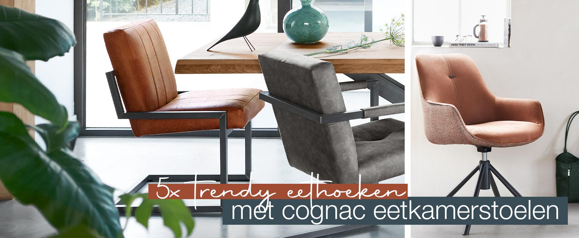 5x trendy eethoeken met cognac eetkamerstoelen