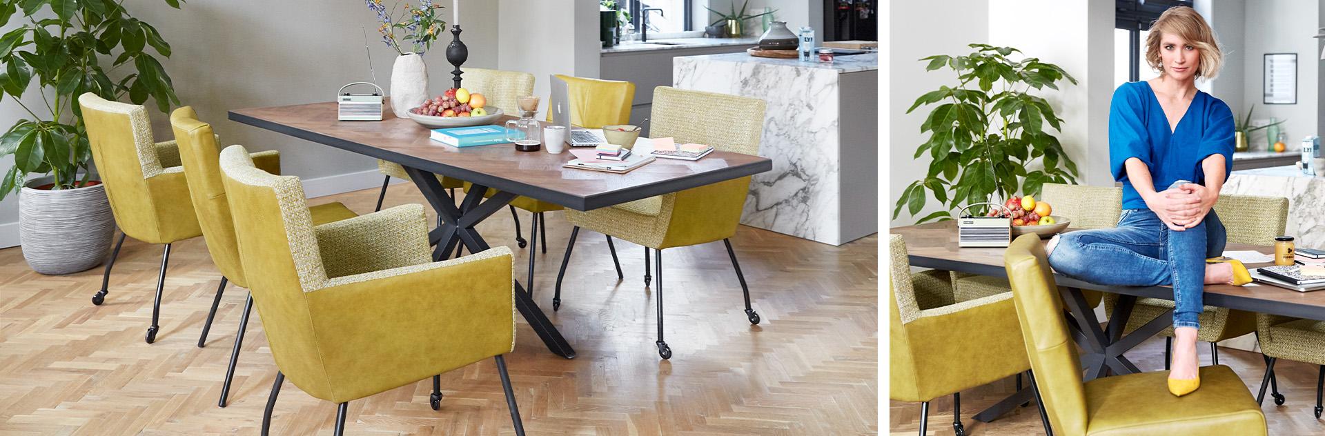 Mento Taranto tafel met gele eetkamerstoelen