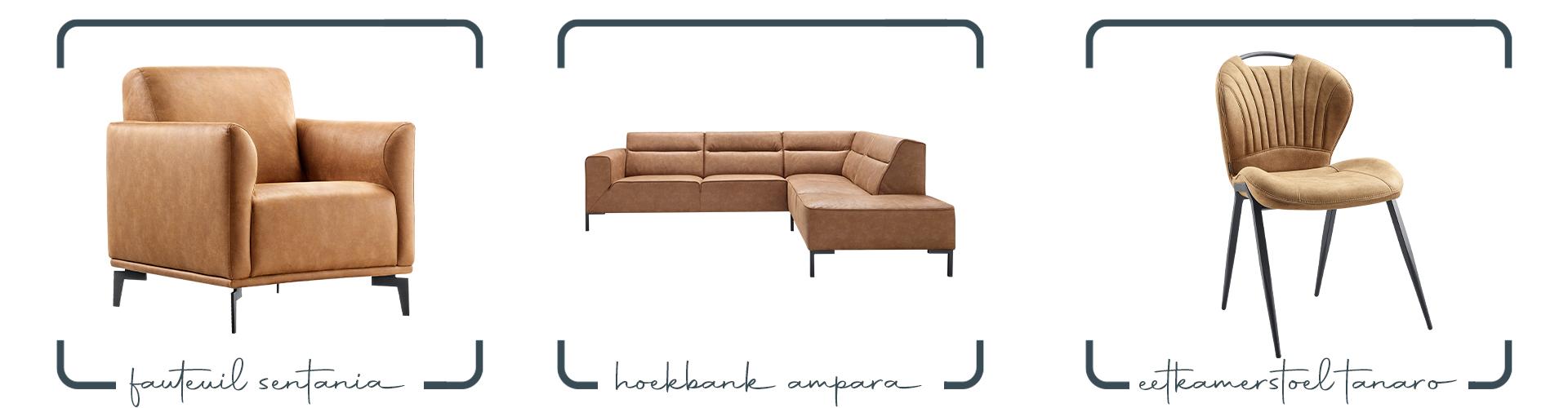 Cognac kleur microleer meubels