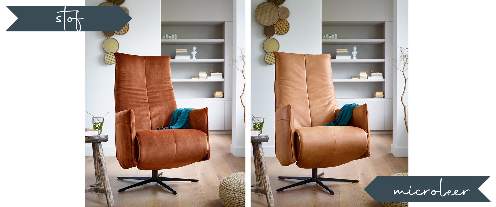 Stof of leer fauteuil